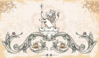Vector Vintage Background With Lion Vector Illustrations old