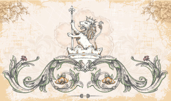 Vector Vintage Background With Lion 1 12 2011 106