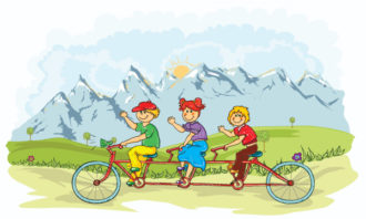 Kids On A Bike Vector Illustration Vector Illustrations tree