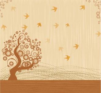 Bird With Tree Vector Illustration Vector Illustrations tree