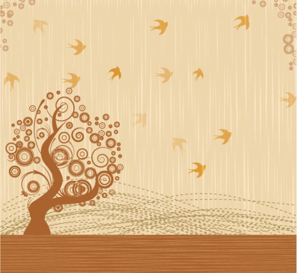 Bird With Tree Vector Illustration 1 9 2011 110