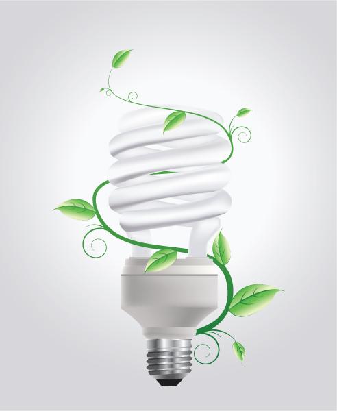 Striking Concepts Vector Artwork: Vector Artwork Energy Saving Lightbulb With Floral 1