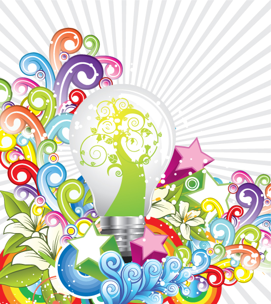 New Bulb Vector Illustration: Eco Light Bulb 1