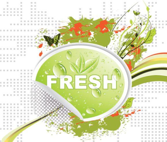 Astounding Bio Vector Design: Bio Sticker With Floral 2010 02 19 1013