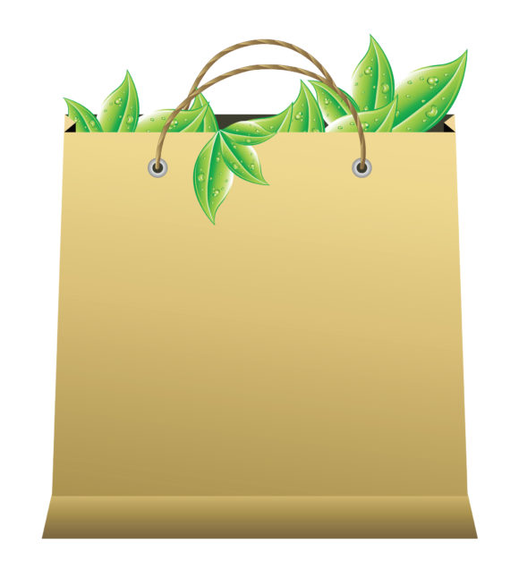 Eco, With, Shopping Vector Vector Shopping Bag With Leaves 5