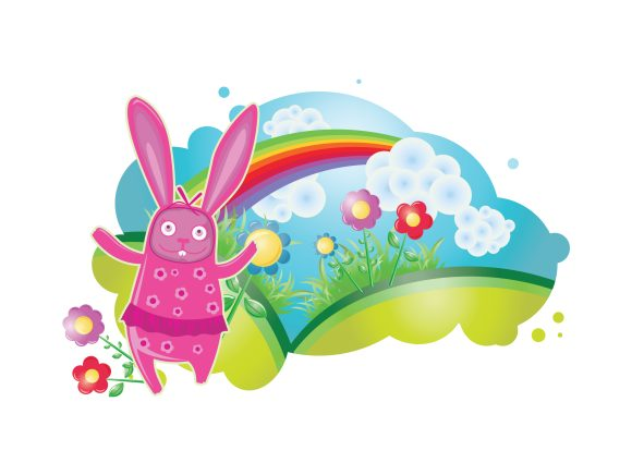 Striking Clowd Vector Graphic: Vector Graphic Spring Illustration With Floral And Rabbit 2010 03 19 1012