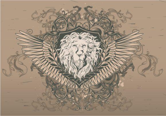 Emblem, Vintage Vector Vector Vintage Emblem With Lion 5