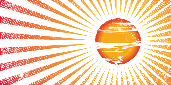 Grunge Summer Background With Sun And Rays Vector Illustrations summer