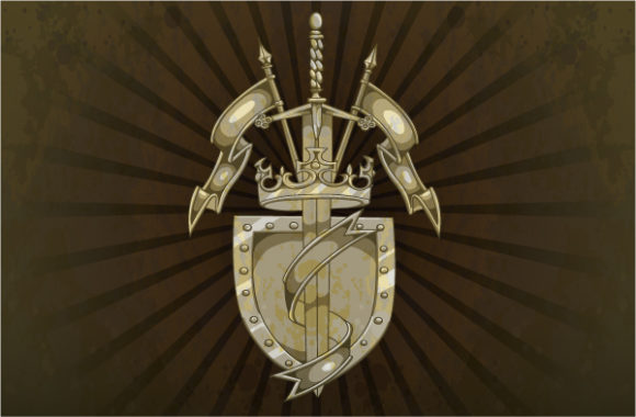 Download Vintage Vector Design: Vintage Shield On A Grunge Background 2010 04 23 1012
