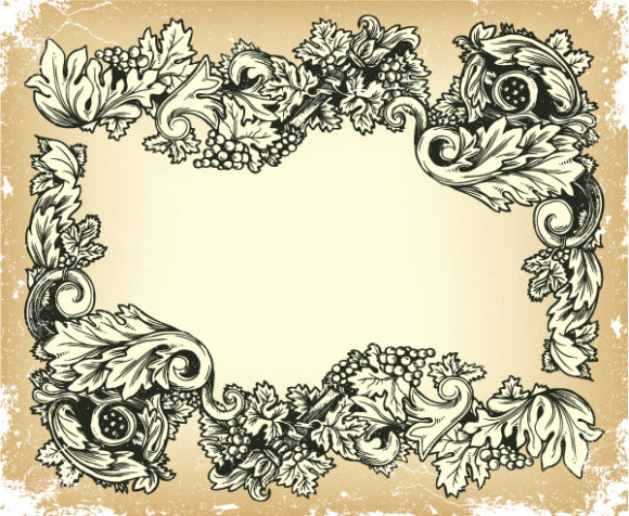 Vintage Vector Background: Vector Background Vintage Grunge Floral Frame 2010 04 24 105