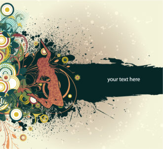 Vector Grunge Background With Girl Vector Illustrations old