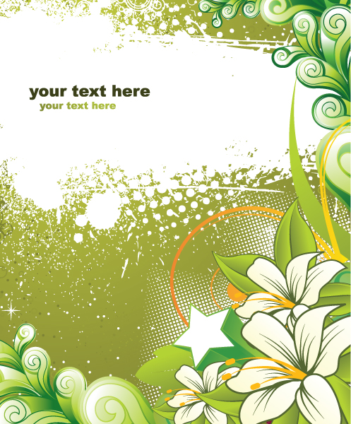 Vector Grunge Background With Floral 2010 04 25 1018