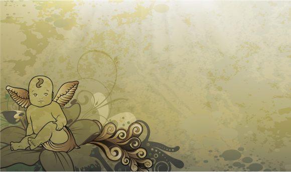 Vector Vector Art: Vector Art Grunge Background With Angel 5
