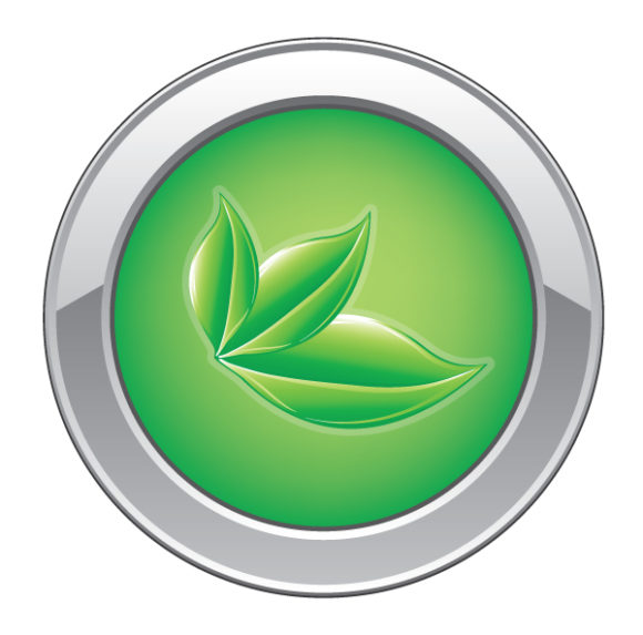 Buy Web Vector Image: Vector Image Eco Web Button With Leaves 2010 05 13 1032