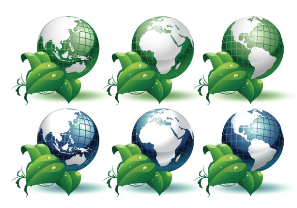 Unique Leaves Vector Image: Planet Earth With Leaves Different Views Vector Image Illustration 2010 05 13 1039