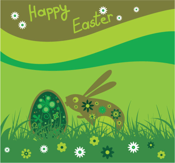 Vector, With Vector Illustration Vector Easter Background With Rabbit 2010 05 18 1054