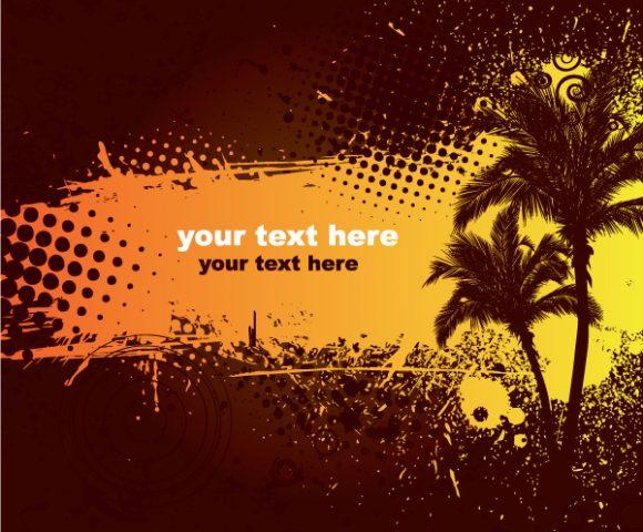 Summer Grunge Floral Background Vector Vector Illustrations palm