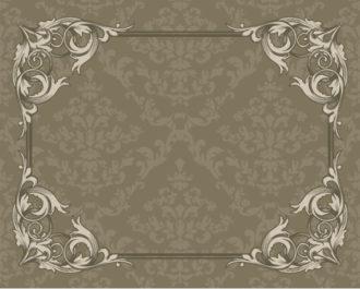 Vintage Floral Frame With Damask Background Vector Illustrations old