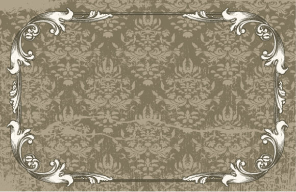 Abstract-2, With, Floral, Background Vector Illustration Vintage Floral Frame With Damask Background 1