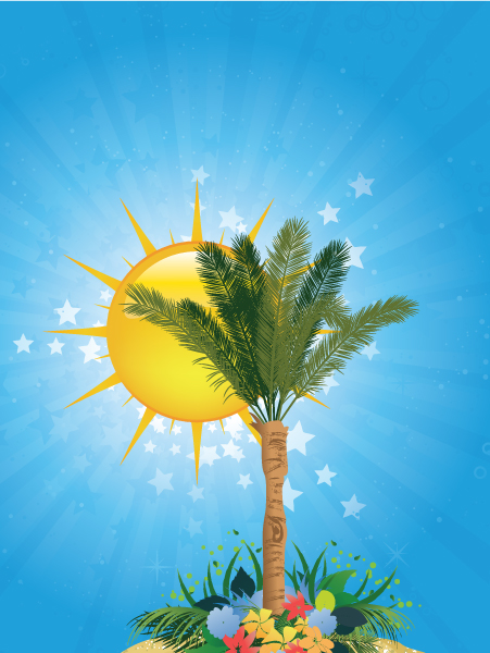 Striking Tree Vector: Summer Background With Palm Tree 1