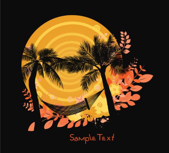 Bold Background Vector Artwork: Summer Background With Palm Trees 2010 05 4 106