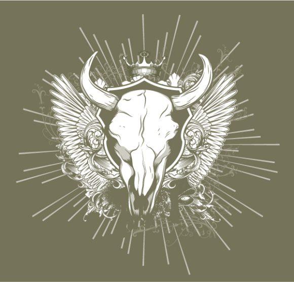 Skull, T-shirt, Design, With, Rusty Vector Illustration Vintage Tshirt Design With Skull 2010 05 6 1015