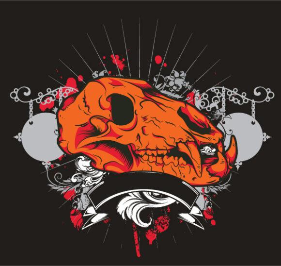 Skull Vector Artwork Vintage Tshirt Design With Skull 2010 05 6 1017
