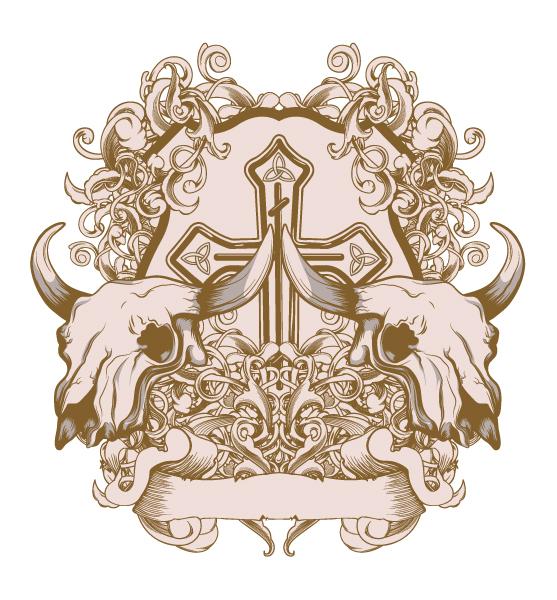 Design, Illustration, Vintage, Tshirt Vector Graphic Vintage Tshirt Design With Skulls 2010 05 6 1020
