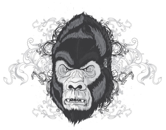 Gorilla, Vintage, T-shirt, Vector, Apparel, With Vector Artwork Vector Vintage T-shirt Design With Gorilla Head 5