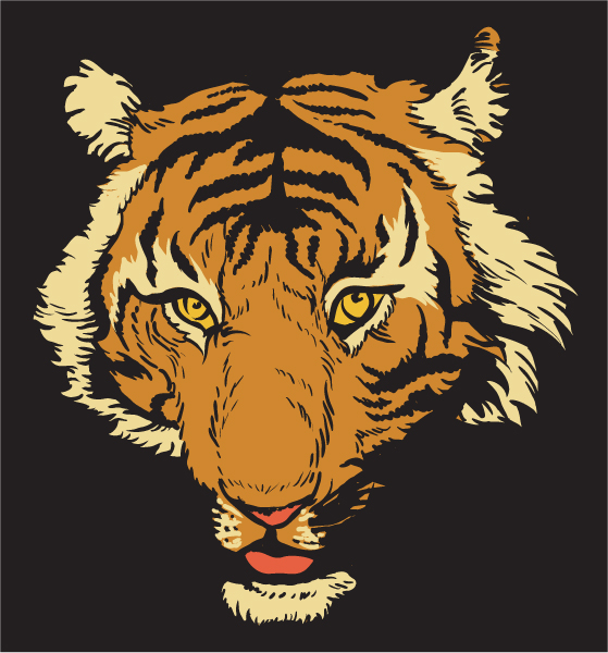 Stunning Vintage-2 Vector Background: Vector Background T-shirt Design With Raging Tiger 5