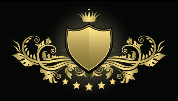 Awesome Vector Vector Image: Vintage Emblem With Shield Vector Image Illustration 1