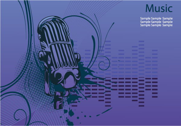 Concert Poster With Microphone Vector Illustration Vector Illustrations wave