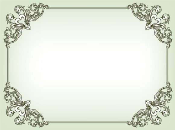 Exciting Frame Vector Image: Baroque Floral Frame Vector Image Illustration 5