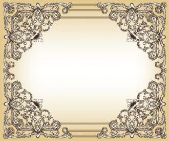 Baroque Floral Frame Vector Illustration Vector Illustrations old