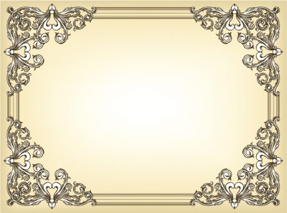 Trendy Frame Vector Background: Baroque Floral Frame Vector Background Illustration 2010 06 17 1018