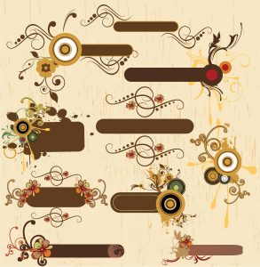 Vintage Floral Frames Set Vector Illustration Vector Illustrations old