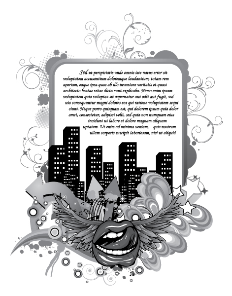 And Vector Vector Mouth With City And Floral 5