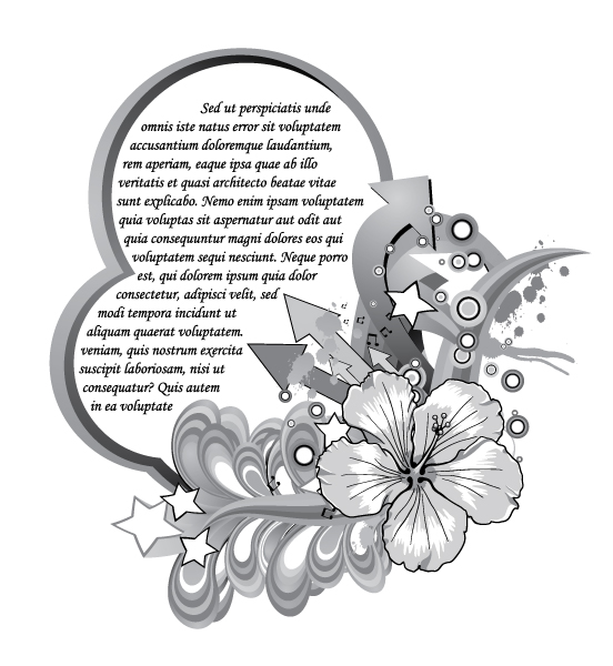 Hibiscus With Circles And Stars Vector Background Vector Illustrations star