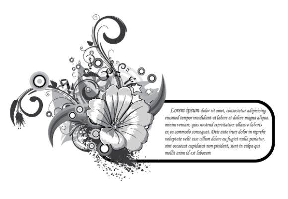 Splash Vector Background Grunge Floral Frame Vector Illustration 5