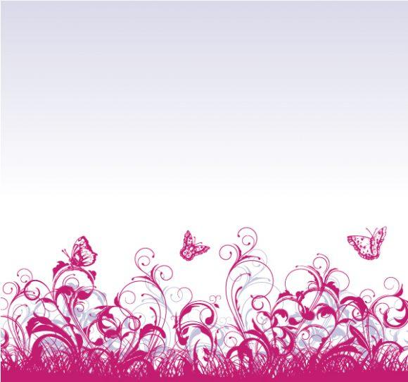 Striking Floral Vector Illustration: Floral Background With Butterflies Vector Illustration Illustration 2010 06 18 1055