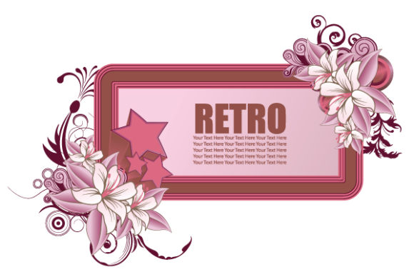 Insane Retro Vector Art: Vector Art Retro Frame With Floral And Stars 5