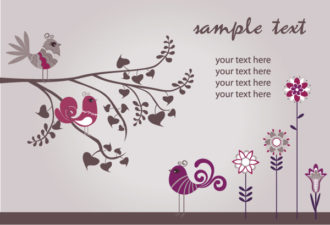 Vector Retro Background With Birds Vector Illustrations old