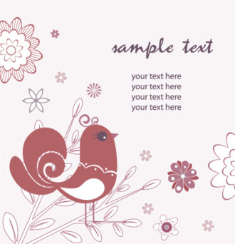 Vector Retro Background With Bird Vector Illustrations old