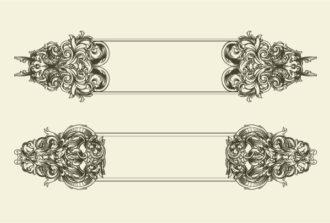 Vector Baroque Floral Frames Set Scenes old