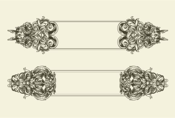 Floral Vector Artwork Vector Baroque Floral Frames Set 1