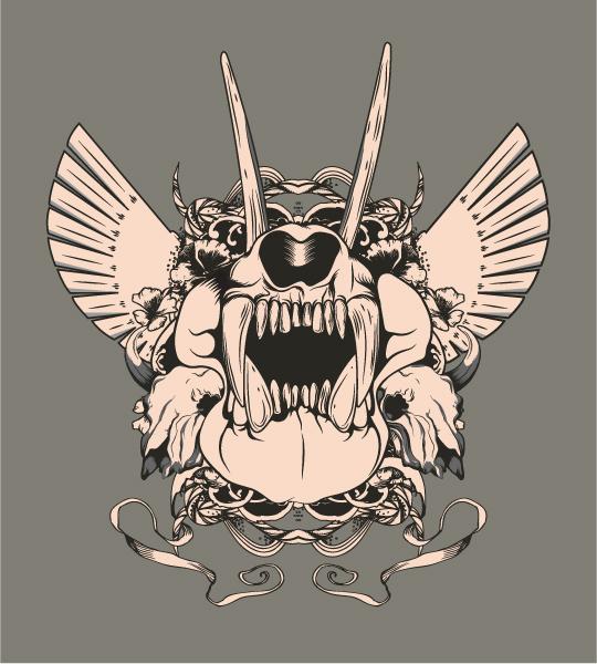 Emblem, Old, Animal, With Vector Artwork Vector Vintage Emblem With Animal Skull 5