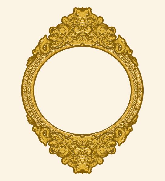 Frame Vector: Engraved Gold Floral Frame Vector Illustation 1