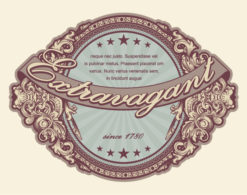 Vector Elegant Vintage Label With Floral Vector Illustrations star
