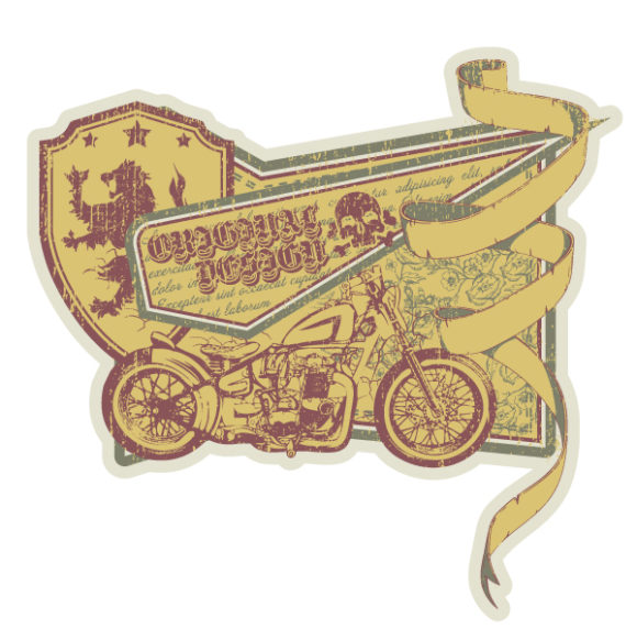Motorcycle, With, Vector Vector Image Vector Vintage Label With Motorcycle 1