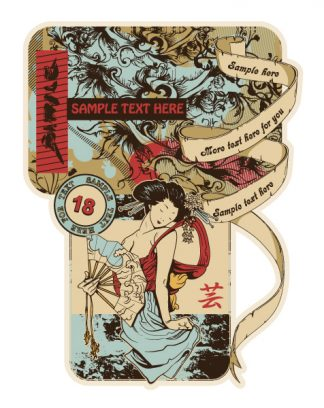 Vector Vintage Japanese Label With Geisha Vector Illustrations old